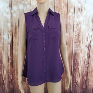 NYC Blouse M Purple Top Button Down